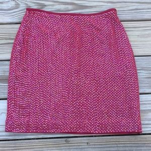 Cache 100% Silk Red Bead and Sequin Mini Skirt